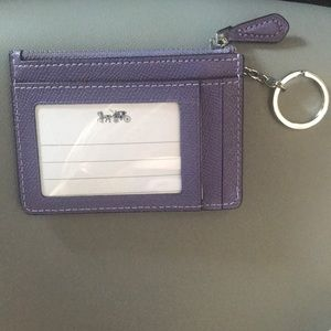 NWT Coach purple ID wallet keychain